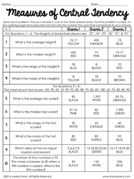 Central Tendency Worksheet 024 - Central Tendency Worksheet