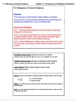 Measures of Central Tendency (Lesson Plan with Homework)