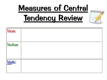 Measures of Central Tendency Data Analysis Activity