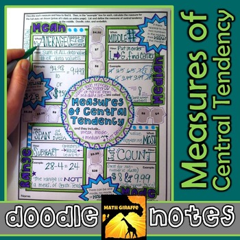Measures of Central Tendency Doodle Notes (Mean, Median, Mode, & Range)