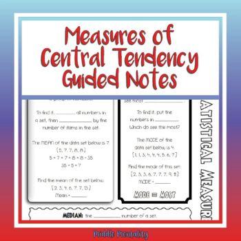 Measures of Central Tendency Doodle Notes (Mean, Median, Mode, Range)