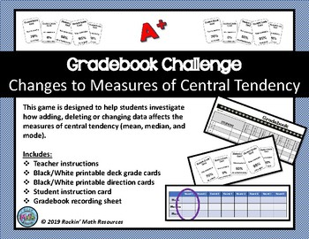 Measures of Central Tendency Gradebook Challenge Game