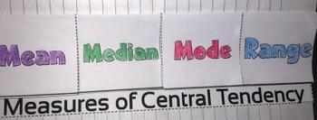 Measures of Central Tendency Mean Median Mode Foldable 6.SP.A.1,  7.SP.1, S-ID.2