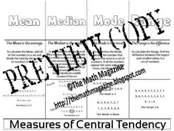 Measures of Central Tendency Mean Median Mode Foldable 6.S