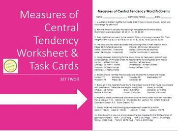 Measures of Ctrl Tendency (Mean Median Mode) Word Probs TASK CARDS#2