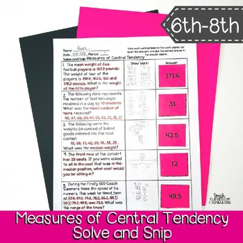 Measures of Central Tendency Word Problems | Solve and Snip® | TEKS 6.12c, 7.12b