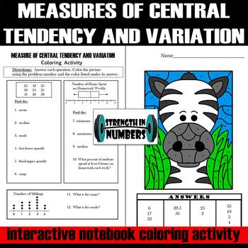 Measures of Central Tendency & Variation INB Zebra Coloring Activity