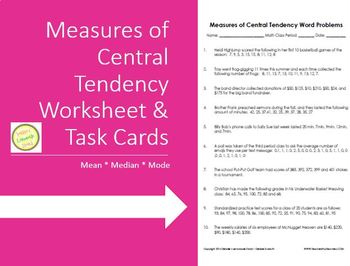 Measures of Central Tendency - Mean Median Mode - Worksheet Task Cards