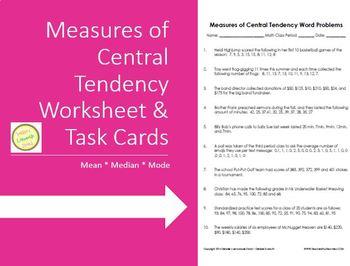 Measures of Central Tendency - Mean Median Mode - Worksheet Task Cards