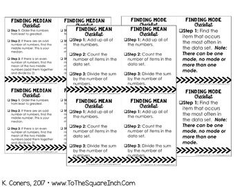 Measures of Central Tendency and Variation Checklists