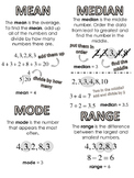 Measures of Central Tendency bookmark/ reference page