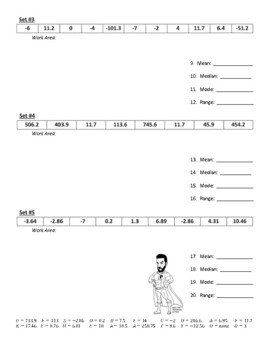 Measures of Central Tendency (mean, median, mode) Joke Worksheet with Answer Key