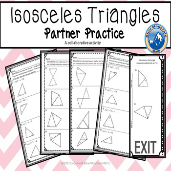 Measures of Isosceles Triangles Partner Practice