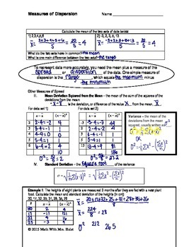 Measures of Spread: Variance & Standard Deviation Guided Notes