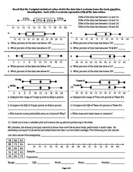 Measures of Variation (box n whisker)