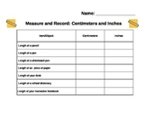 Measuring Activity (cm. and in.)