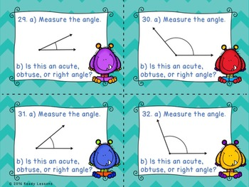 Measuring Angles Task Cards 4th Grade Protractor Practice Activity 4.MD.6