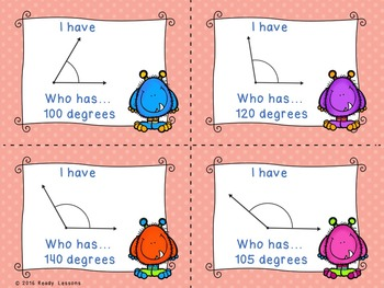 4th Grade Measuring Angles Game I Have Who Has 4.MD.6