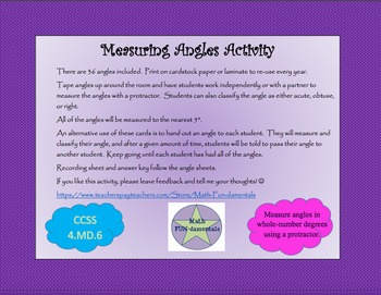 Measuring Angles Activity