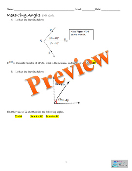 Measuring Angles- Bundle Homework, Quiz Exit Ticket Graphic Org. Online Resource