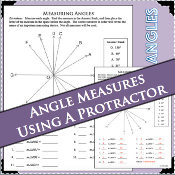Measuring Angles Protractor Practice Angle Measures