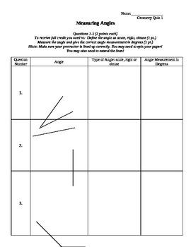 Measuring Angles Quiz