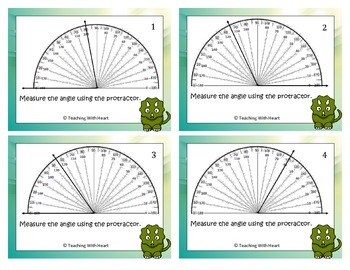 Measuring Angles Scoot Activity - Task Cards with Protractor (Start at Zero)