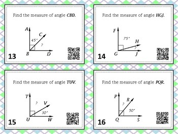 Measuring Angles Task Cards with QR Codes