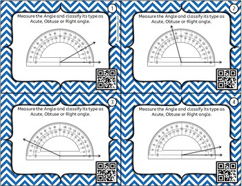 Measuring Angles Task Cards with preprinted protractor and QR codes