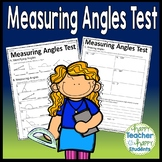 Measuring Angles Test: 2-Page Quiz with Answer Key (Includes Angles up to 180)