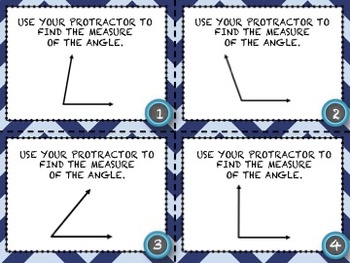 Measuring Angles (Using a Protractor) 20 Common Core Aligned Middle Grades Cards