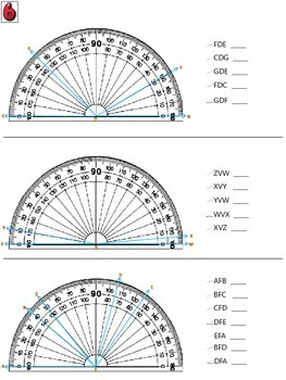 Measuring Angles Using a Protractor - color worksheets & task cards