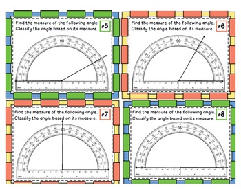 Measuring Angles With a Protractor- Task Cards