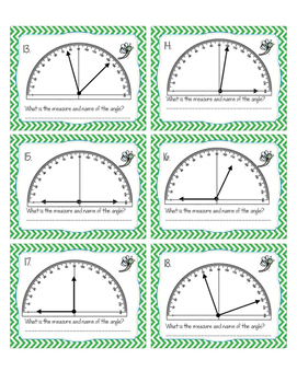 Measuring Angles With a Protractor Task Cards