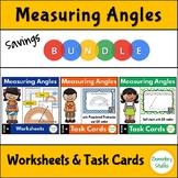 Measuring Angles Worksheets and Task Cards Bundle