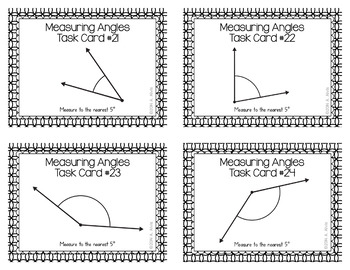Measuring Angles Task Cards - Measure to the nearest 5 degrees - SCOOT