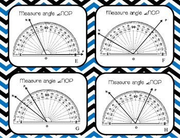 Measuring Angles using a Protractor Task Cards