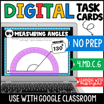 Measuring Angles with Protractor Digital Task Cards for Google Classroom