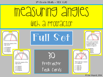 Measuring Angles with a Protractor - 30 Task Cards