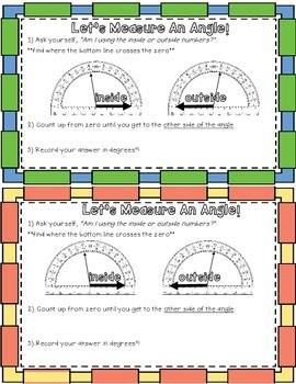 Measuring Angles with a Protractor Reference Sheet