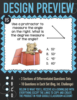 Measuring Angles with a Protractor Task Cards ★ Digital ★ Google Classroom 4.MD6