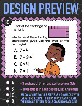 MEASURING AREA ★ 3rd Grade Google Classroom Math Activity | 3.MD.7 Task Cards