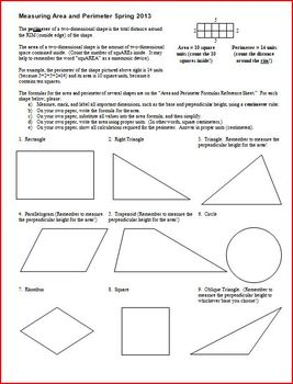 Measuring Area and Perimeter Spring 2013 (Editable)