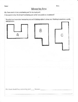 Measuring Area with Non-Standard Units (Word Problem) FREEBIE