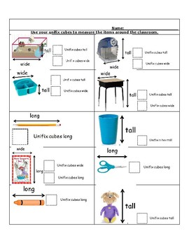 Unifix Cubes Worksheet Teaching Resources | Teachers Pay Teachers