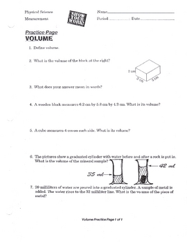 Measuring & Calculating Volume Worksheet