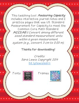Measuring Capacity US Standard Measurement