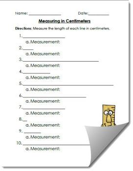 Measuring Centimeters Activity Worksheet Assessment