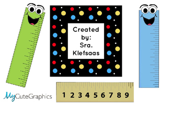 Measuring Centimeters and Inches Book Libro de medir con centímetros y pulgadas