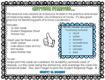 Measuring Circles Task Cards